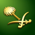 3D national emblem of the Kingdom of Saudi Arabia with gold color and green background. Vector illustration