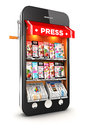 D newsstand smartphone white background image Stock Images