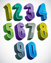 3d numbers set, colorful glossy numerals for design
