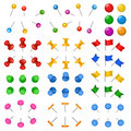 3d office stationery buttons holder drawing-pin thumbtack vector supply paper or board pins Royalty Free Stock Photo