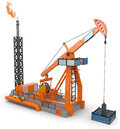 D oil pump jack on white background Royalty Free Stock Images