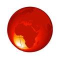 3d orange Globe Isolated on White Background Vector Royalty Free Stock Photo