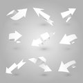 D origamiarrow set vector illustration of white flat origami arrows on gray background Royalty Free Stock Photos