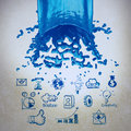 D paint blue color splash and business strategy background as c vintage style concept Stock Images