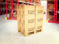 D pallets in warehouse image of with classic boxes Stock Image