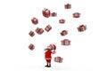 D papá noel concepto de muchos regalos Imagen de archivo