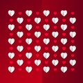 3D paper hearts on red backround