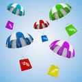 D parachutes and shopping bags sale concept Royalty Free Stock Image