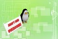 D penguin with adapt and overcome illustration on colorful background top angle view Stock Photos