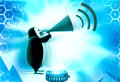 D penguin announce in speaker illustration on abstract background front angle view Stock Photo