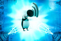D penguin announce in speaker illustration on abstract background left side angle view Royalty Free Stock Images