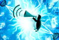 D penguin announce in speaker illustration on abstract background right side angle view Stock Photo