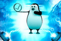 D penguin holding blue correct symbol illustration on abstract background front angle view Royalty Free Stock Image