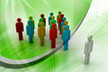 D people arrange in que color background Stock Image
