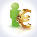 D people euro sign and gold illustration Royalty Free Stock Photo