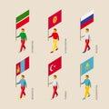 3d people with flags Russia, Kazakhstan, Kyrgyzstan, Turkey, Tat