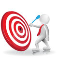 3d people hit target icon vector logo