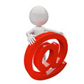 D people with red mail sign on white background Stock Photo