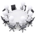 3d people at the round table. One chair is empty Royalty Free Stock Photo
