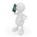 D people talking smart phone white background Stock Photo