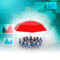 3d people under the red colour umbrella