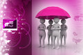 3d people under umbrella, team work concept