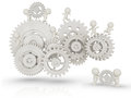 D people working as a team assembling cogwheels isolated over white Royalty Free Stock Photo