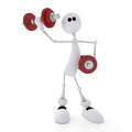 D person athlete the white little man goes in for sports with dumbbells Royalty Free Stock Images