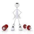 D person athlete the white little man goes in for sports with dumbbells Royalty Free Stock Photo