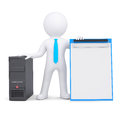 D person and computer system unit white a isolated render on a white background Royalty Free Stock Image