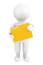 D person with folder on a white background Royalty Free Stock Image