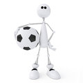 D person football player the little white man on springs plays soccer Royalty Free Stock Photography