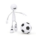 D person football player the little white man on springs plays soccer Royalty Free Stock Images
