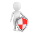 D person hold protective shield on a white background Stock Photo