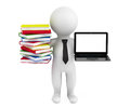 D person holding a laptop and books on white background Stock Photography