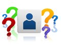 D person sign block color question marks Stock Photo