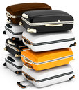 D pile of suitcases on white background Stock Photo