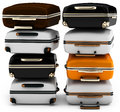 D pile of suitcases on white background Stock Images