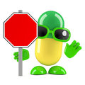 3d Pill roadworks sign Royalty Free Stock Photo