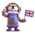 D pilot waves the union jack render of a waving a flag Royalty Free Stock Images