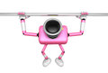 D pink camera character is doing a vigorous horizontal bar work workout create robot series Stock Photo