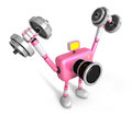 D pink camera character a dumbbell shoulders press exercise cr create robot series Stock Images