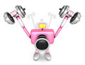 D pink camera character a dumbbell shoulders press exercise create robot series Royalty Free Stock Image