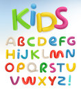 3d plastic font. Children and school vector