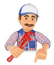 3D Plumber with a pipe wrench pointing down. Blank space Royalty Free Stock Photo
