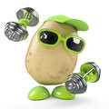 D potato works out render of a working with some weights Stock Image