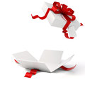 D present box and red bow Royalty Free Stock Image