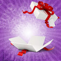 D present box and red bow isolated Stock Photography