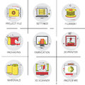 3d Printer Modern Technology Project File Industry Production Icon Set