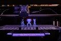 D printer printing plastic toys display sxsw create free to public event held durring sxsw week Stock Image